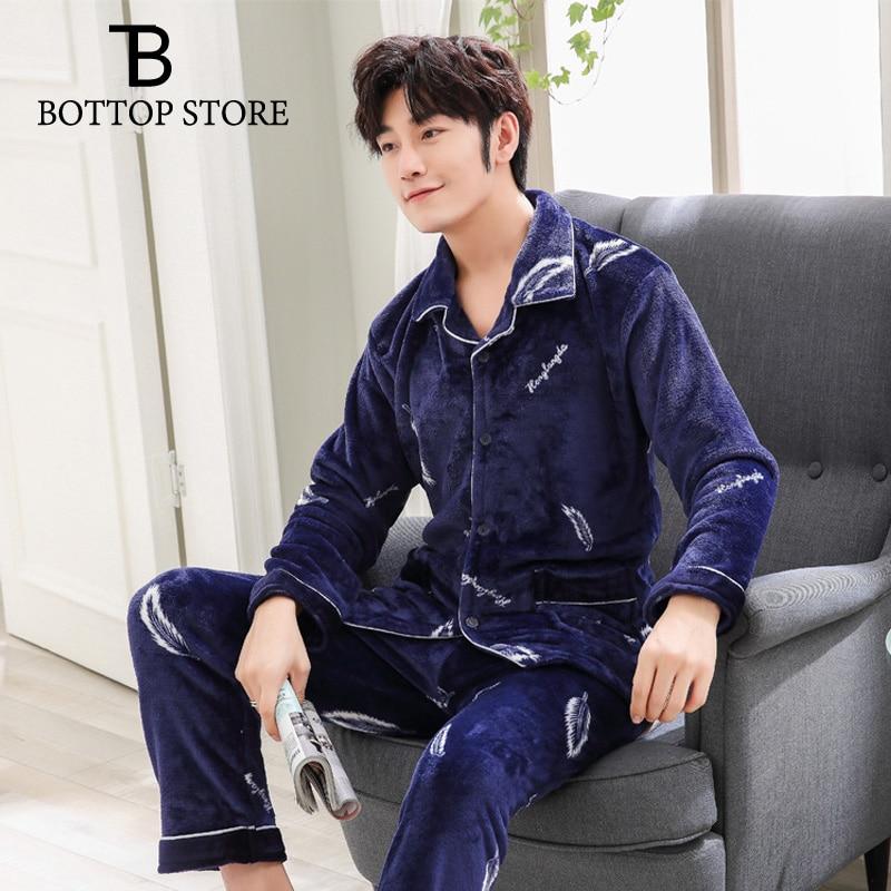 Men Pyjamas Male Velvet Sleep Suits Set Mens Sleepwear Man Winter Pajamas Set Young Night Wear Sleeping Clothes Nightgowns Pyja