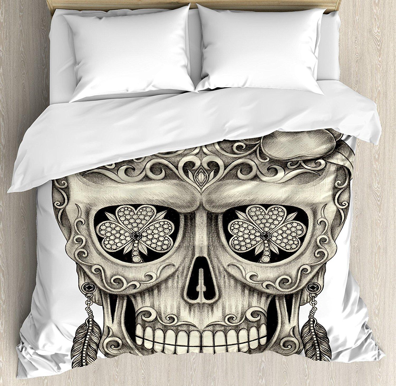 Day Of The Dead Duvet Cover Set Spanish Sugar Skull Floral ...