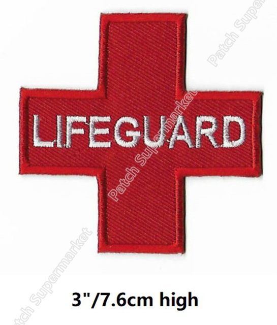 6971317c52e2 LIFEGUARD MEDIC Nurse Doctor Red Cross patches medical logo Embroidered Iron  On Applique shoulder badge