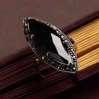 Long Baolong 925 Genuine Sterling Silver Black Onyx Ring Ring Retro Fashion Food Exaggerated Personality New