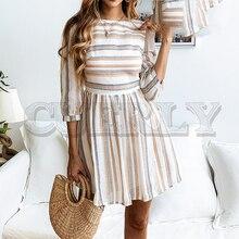 CUERLY Women summer cotton dress elegant Striped O neck A-line short vestidos feminino Casual holiday beach dresses 2019
