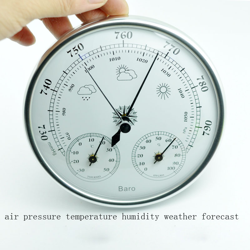 Hot selling Wall mounted household thermometer hygrometer high accuracy pressure gauge air weather instrument barometers portable lcd digital manometer pressure gauge ht 1895 psi air pressure meter protective bag manometro pressure meter