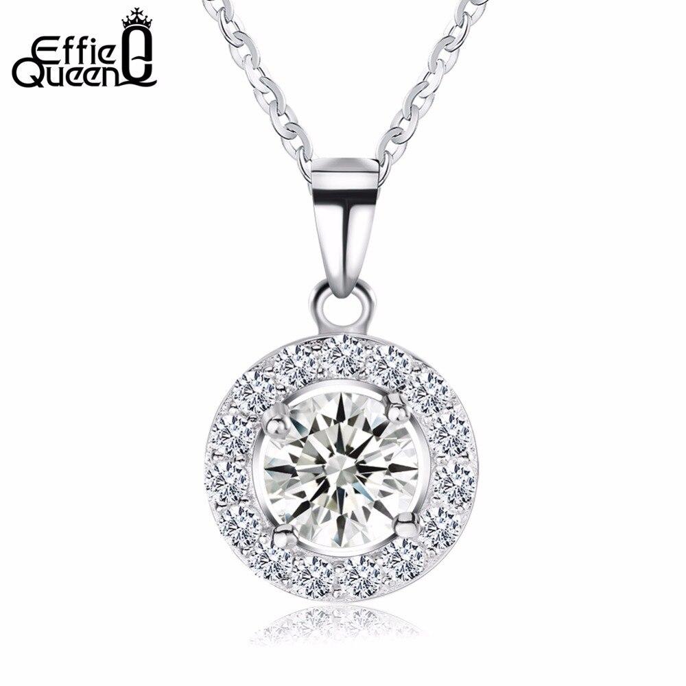 Effie Reine De Luxe Cristal Rond Pendentifs & Colliers Véritable 925 En Argent Sterling Collier Cadeau pour les Femmes Classique Bijoux BN43