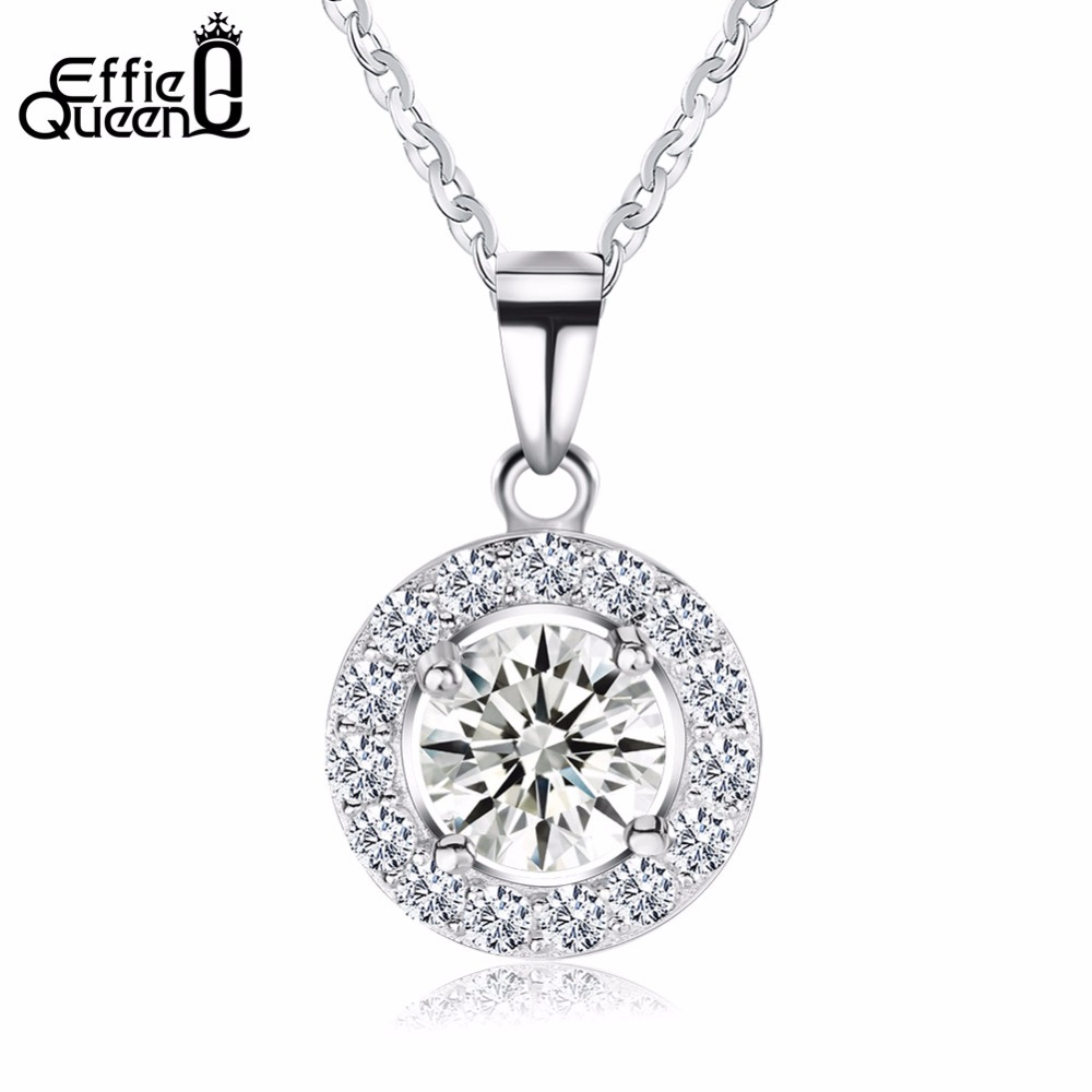 Effie Queen Luxury Crystal Round Pendants&Necklaces Genuine 925 Sterling Silver Necklace Gift for Women Classic Jewelry BN43
