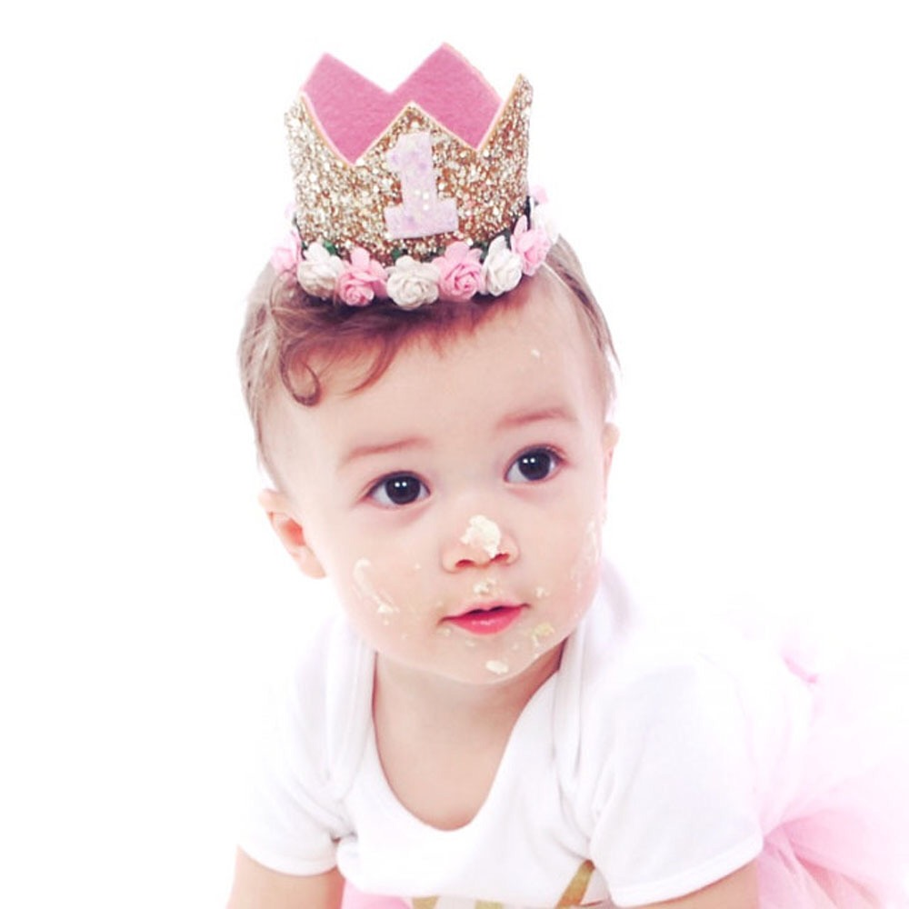 1pcs Baby Cute 1/2/3 Birthday Hats Rose Crown Baby Shower Birthday Photo Props Children Decor