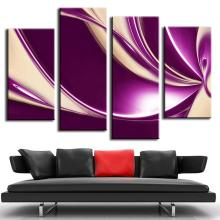 4 Pcs/Set Modern Abstract Oil Painting Combined Canvas Home Room Decor Wall Art Picture Plum Beige Digital Poster