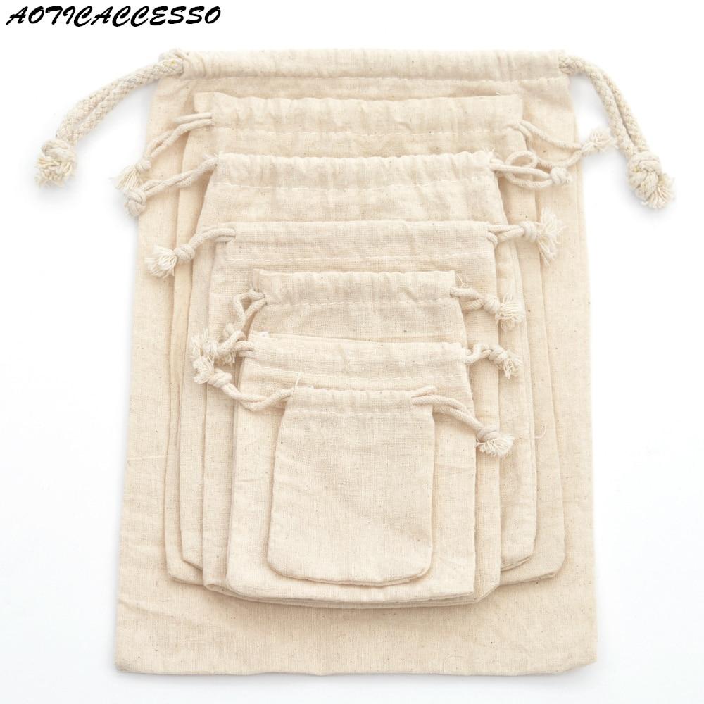 1pc Reusable Cotton Drawstring Shopping Bag Travel Shopper Tote Drawstring Bag For Women Men Laundry Bag Christmas Gift Pouch