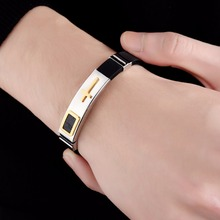 Black Silicone and Stainless Steel Adjustable Cross Pattern Bracelet Wristband Gift for Him – – Black, Gold