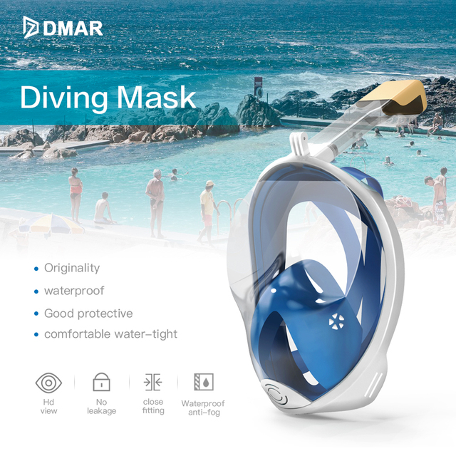 Diving Mask Underwater Anti fog panoramic Full Face Snorkel Women Men Kids Swimming Snorkeling Mask Scuba Goggles Camera Mount 1