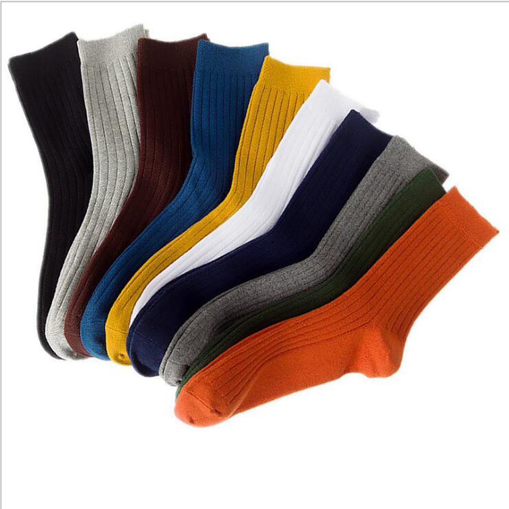 10 Pairs / Bag Men's Socks Solid Color Vertical Strip Cotton Tube Deodorant Sweat-Absorbent Casual Men's Tube Socks Trend
