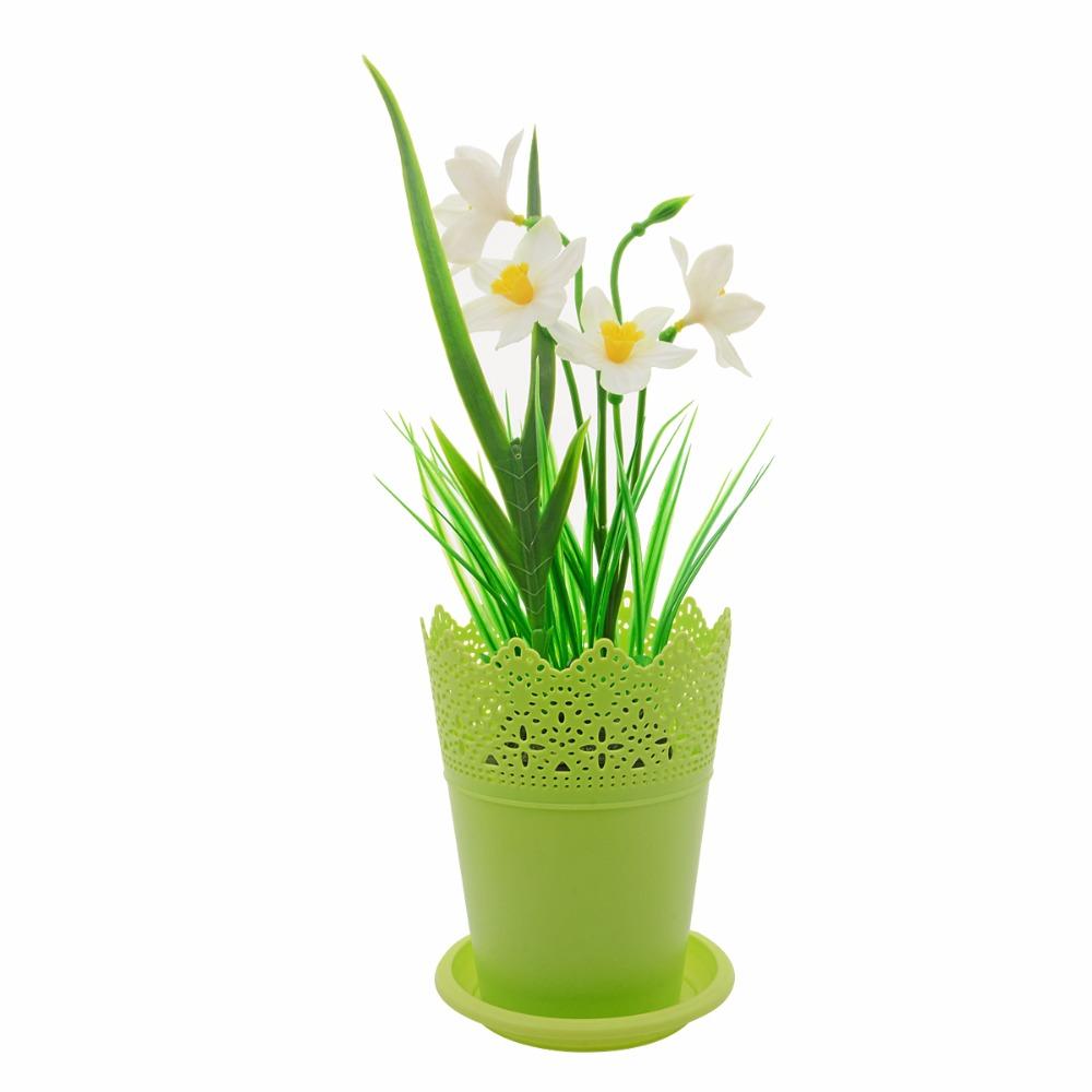 6pcs Lovely Flower Pot With Lace Plastic Nursery Pots For Plants
