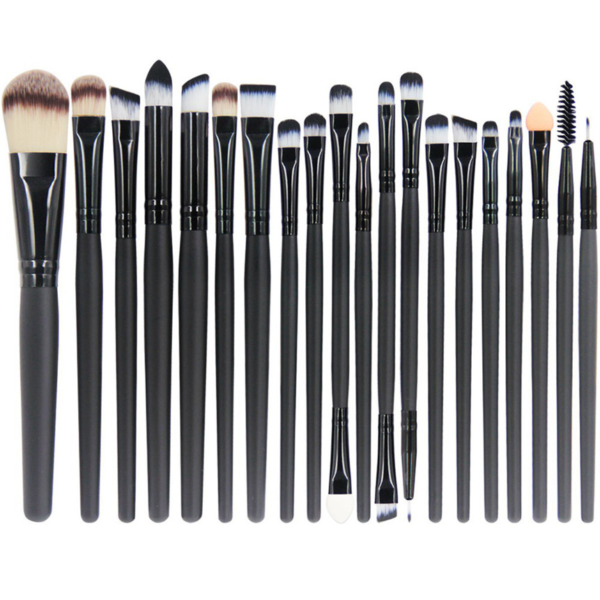 HUAMIANLI Makeup Brush Set Wooden Professional Synthetic Hair Eye Make Up Brushes Cosmetic Tool 20Pcs Black 08F9
