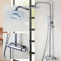 New Modern Bathroom Faucet Chrome Polished Shower Set Hot&Cold Mixers Taps Wall Mounted Rainfall Shower Faucets