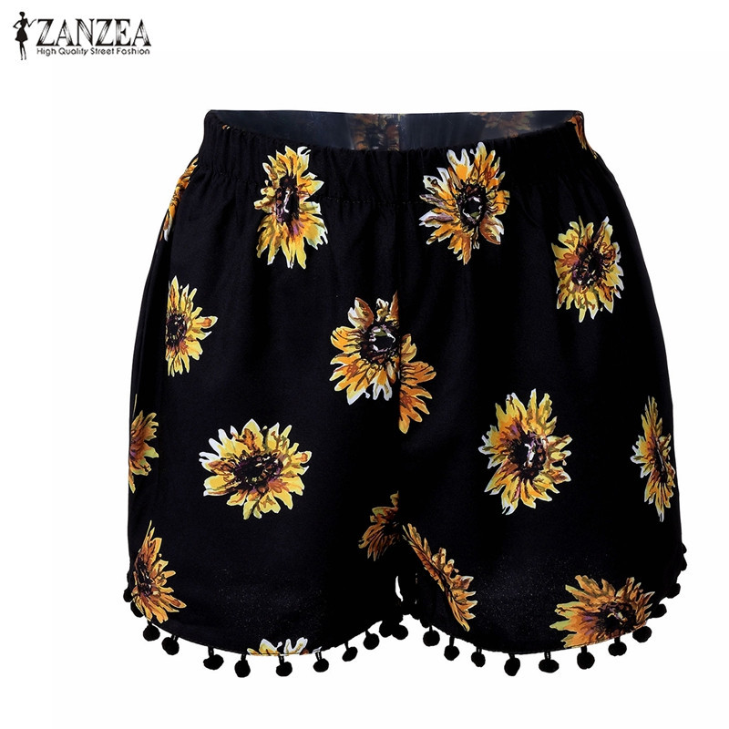 ZANZEA Fashion 2016 Summer Women Beachwear   Shorts   Casual Loose Sunflower Printed Tassel Elastic Waist   Shorts   Plus Size S-3XL
