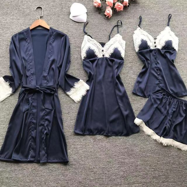 2019 Sexy Nightwear Lace Silk Pyjamas Women Satin Pajamas Sets 4 Pieces Sleepwear Pijama With Chest Pads Home Wear