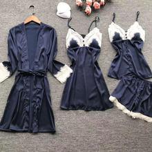 2019 Váy Ngủ Gợi Cảm Lụa Viền Ren Pyjamas Nữ Satin Bộ Đồ Ngủ Bộ 4 Miếng Đồ Ngủ Pijama Có Đệm Lót Ngực Mặc Nhà