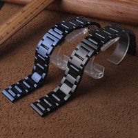 20mm 22mm Black Stainless Steel Watches Bands for Samsung Gear Sport S2 S3 Watch Strap Metal Wristband for wristwatch watchbands
