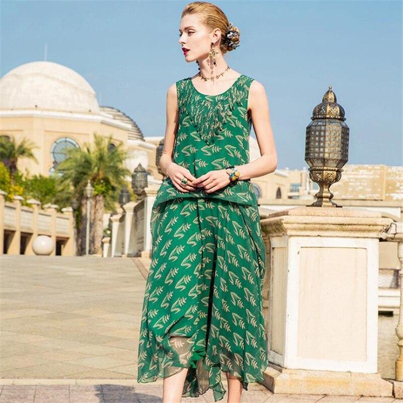 UNIQUEWHO Women Sleeveless Chiffon Dress Bohemia Green / Black Print Dress Loose Casual Midi Dress Summer Holiday Beach Dress zea3 4 1ly woman s stylish bohemia style beach holiday dress green