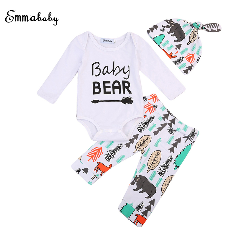 Fall Newborn Kid Baby Boy Girl 3pcs Bebes Clothes Romper+Long Pants+Cap Long Sleeve Jumpsuit 2017 New Outfit Clothes Set 0-2Y