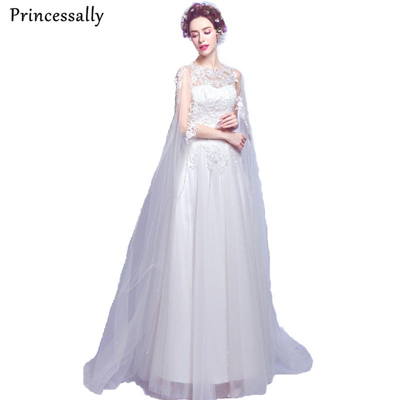 2017 New Wedding Dress Sexy See Through Embroidery With Shawl Lace Elegant Bride Married Party Gown Robe De Mariage Vestidos