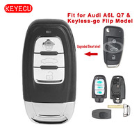 Keyecu Upgraded 3 Button Smart Remote Key Shell Case for Audi A6L Q7 & Keyless go Flip Model (Shell only) with Uncut blade