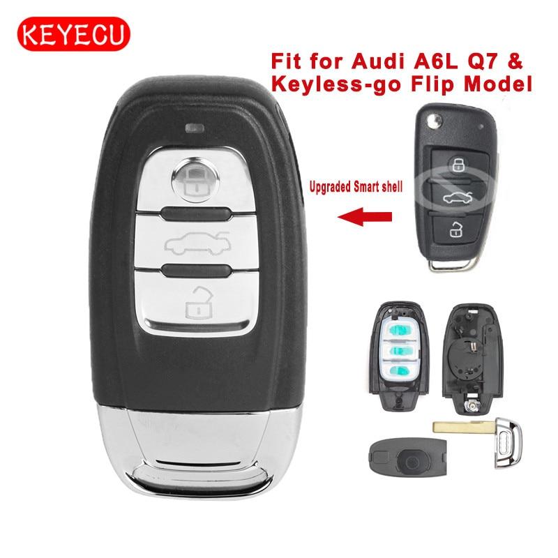 Keyecu a amélioré la coque de clé à distance intelligente 3 boutons Fob pour Audi A6L Q7 et modèle Flip sans clé (coque seulement)