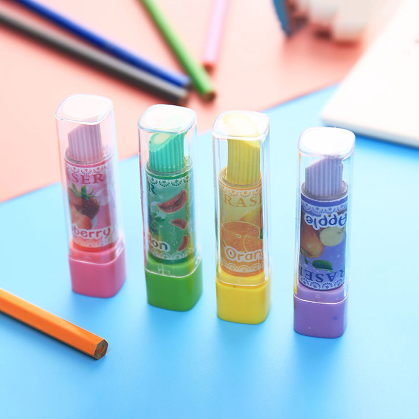 Lipstick Shape Eraser Girl Student Stationery Pencil Wiping Erasers School Office Supplies Kids Prize Gifts Studying Accessories