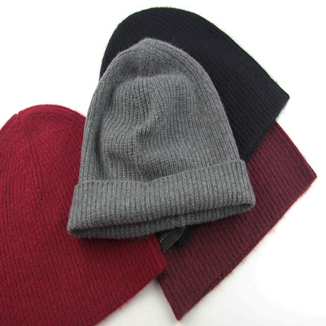 Скидки 100% Коза кашемир модные шляпы Шапки Сгущает шапочки большие береты для унисекс красное вино темно-синие 5 цветов ЕС/ м (56-58 см)