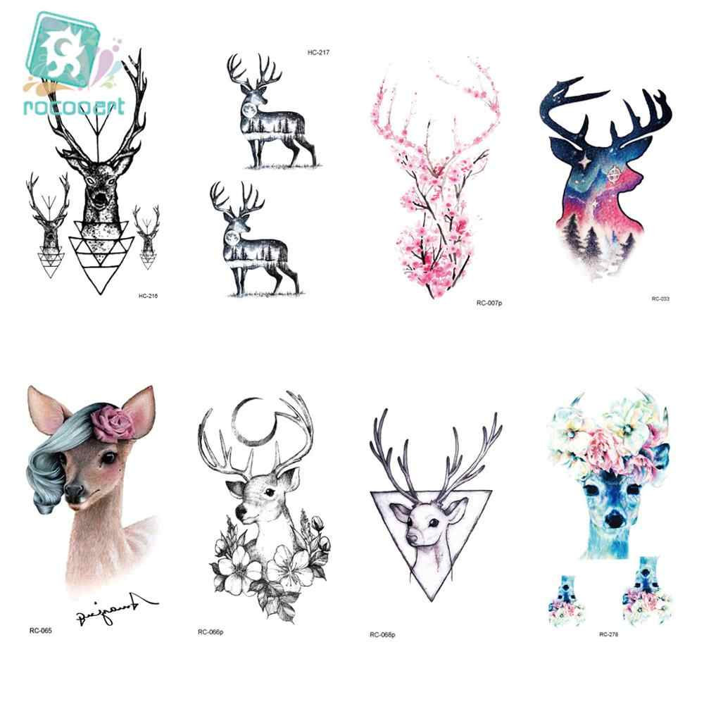 25 Different Color Black Printing Sheep Antelope Tattoo Waterfproof Fake Deer Temporary Fairy Tattoo Sticker For Girls