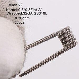 Image 3 - XFKM Ni80/A1/SS316 الغريبة v2 لفائف ل RDA تانك بخاخ RTA سيجارة إلكترونية القلم ملحق 50 قطعة/صندوق الغريبة V2 لفائف