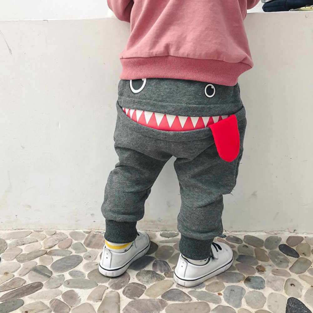Baby Kids Boys Girls Shark Pants Trousers Tongue Winter Cartoon Harem Pants Kids Cute Monster Toddler Pants Boys Girls Trousers