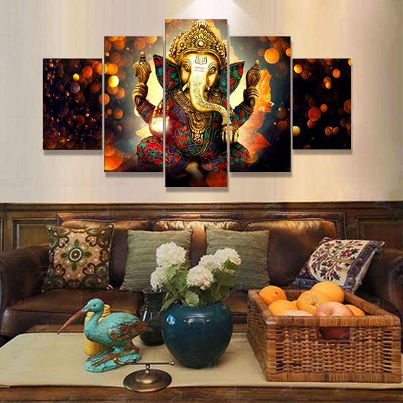 Unframed 5 Panel Modern Ganesh Elephant Trunk Indian God Hd Art Print Canvas Prints Wall Pictures For Living Room Wall Art Decor