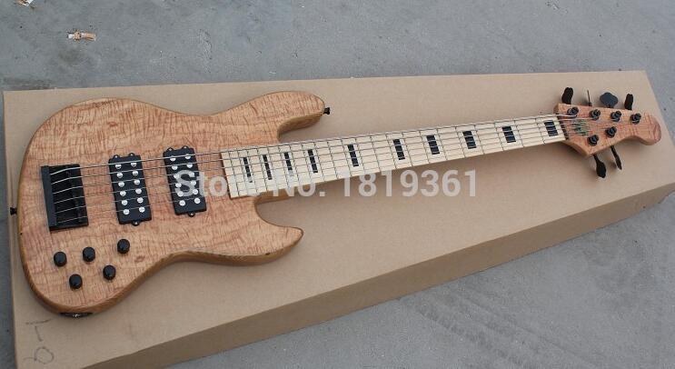 Usine en gros GYJB-5095 d'origine couleur avec ronce grain couverture actif ramassage 6 cordes jazz Guitare Basse, Livraison gratuite