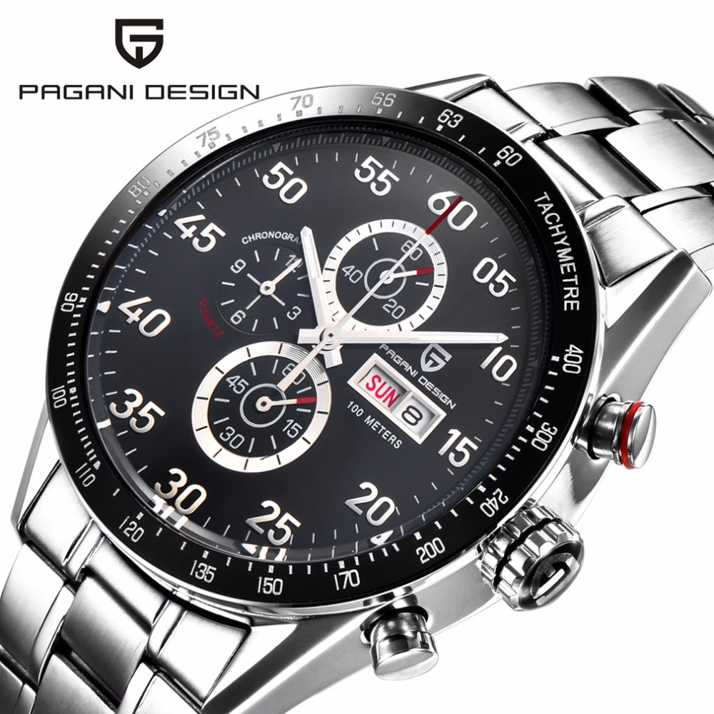 PAGANI DESIGN Fashion Stainless Steel Waterproof Sport Watch Men Business Military Quartz Wrist Watch Male Clock hodinky genuine curren brand design leather military men cool fashion clock sport male gift wrist quartz business water resistant watch