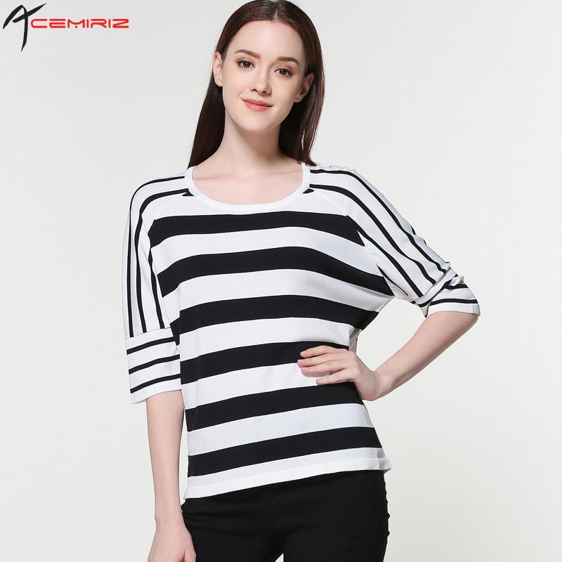 2017 Nuevo Producto de Moda de Rayas Tejer Camisa Pullovers O-cuello de Tres Cua