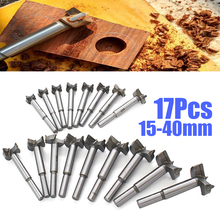 17pcs/set 15-40mm Woodworking Drilling Pilot Holes Drill Bit Wood Drilling Hinge Boring Woodworking Hole Saw Cutter