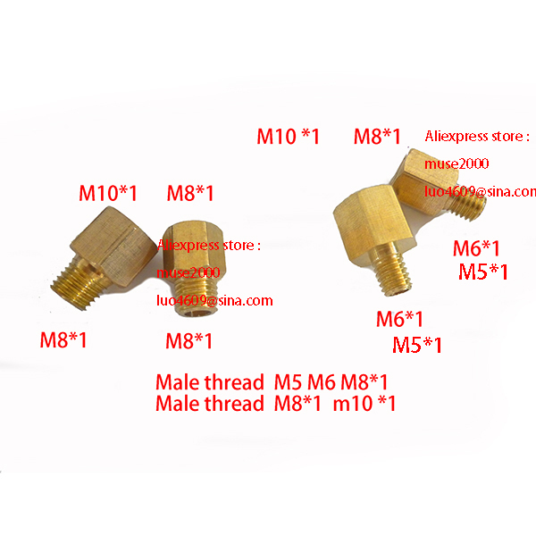 Female  M8  M10x1 nut converter brass to Male M5  m6  m8 x1 coupling brass coupler copper pipe joint connector meter tapping
