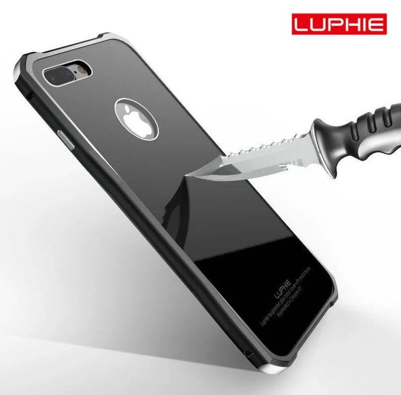 imágenes para De lujo a prueba de golpes a prueba de arañazos de aluminio fino de metal casos de parachoques del capítulo para apple iphone 7 7 plus vidrio templado contraportada shell