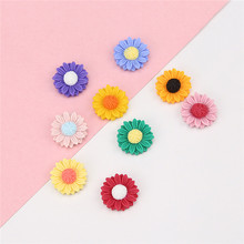 10 pcs small fresh daisy sun flower resin patch earrings for women girls cute hairpin hair accessories diy handmade jewelry