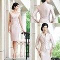 2016 Elegante Na Altura Do Joelho Mãe dos Vestidos de Noiva com jaqueta Plus Size Prom Vestidos vestido de Festa À Noite Personalizado madrinha