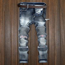 Mens Jeans brand selling Straight Ripped Jeans For Men Zipper Fly Denim Jeans Men Fashion Designer Pants Blue Jeans Homme 28-38