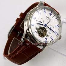 Parnis watch 43mm power reserve Brown strap White dial date Automatic Self-Wind Men's watch