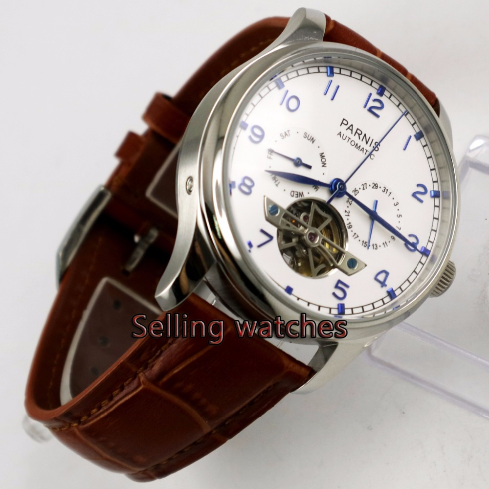 Parnis watch 43mm power reserve Brown strap White dial date Automatic Self-Wind Men's watch casual 43mm parnis automatic power reserve white dial blue numbers silver watch case business watch men