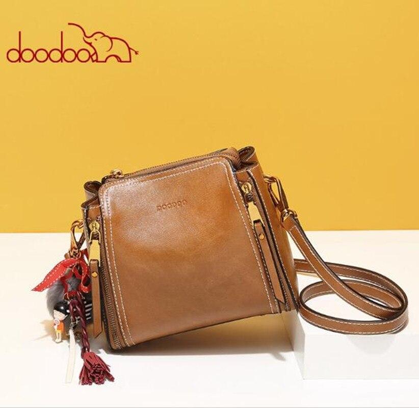 DOODOO femmes Vintage Messenger L sac sacs à main avec pendentif femme gland épaule bandoulière sacs bleu/marron/rose FR626