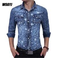 Men Shirt 2017 Male Long Sleeve Shirts Casual Mens Denim Printing Slim Fit Dress Shirts 2XL
