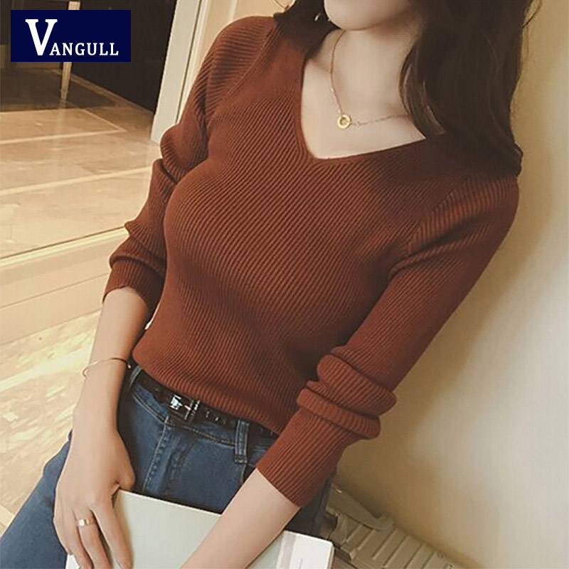 Vangull Autumn V Neck Sweater 2019 New Knitted Fashion Women Sweaters Winter Tops For Women Pullover Jumper Slim Pullovers