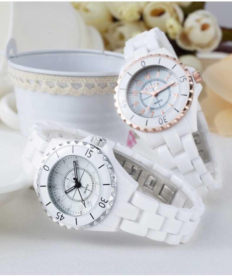 Relojes de moda de mano luminosos de marca Original SKONE para mujer reloj de cuarzo analógico de cerámica blanca con bisel de oro rosa para mujer
