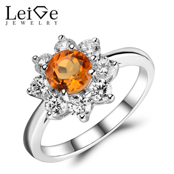 Leige Jewelry Genuine Citrine Ring Yellow Crystal Gemstone Engagement Anniversary Rings for Women Silver 925 Jewelry Elegant