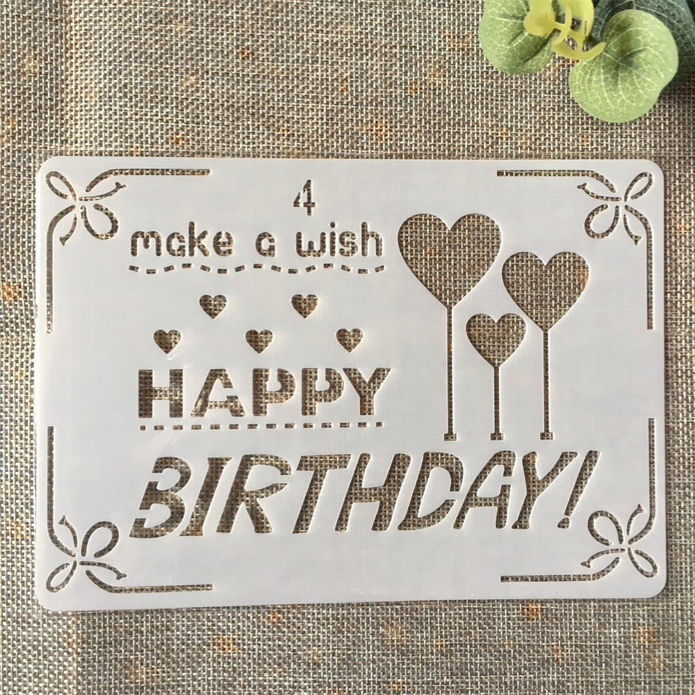 18cm Happy Birthday Heart DIY Layering Stencils Painting Scrapbook Coloring Embossing Album Decorative Paper Card Template