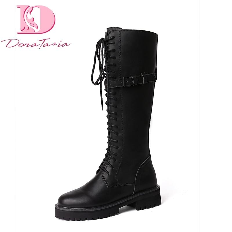 Design stivali donna cavallo all'ingrosso in donna lacci vera nero pelle Martin Brand Doratasia scarpe ga0wq540